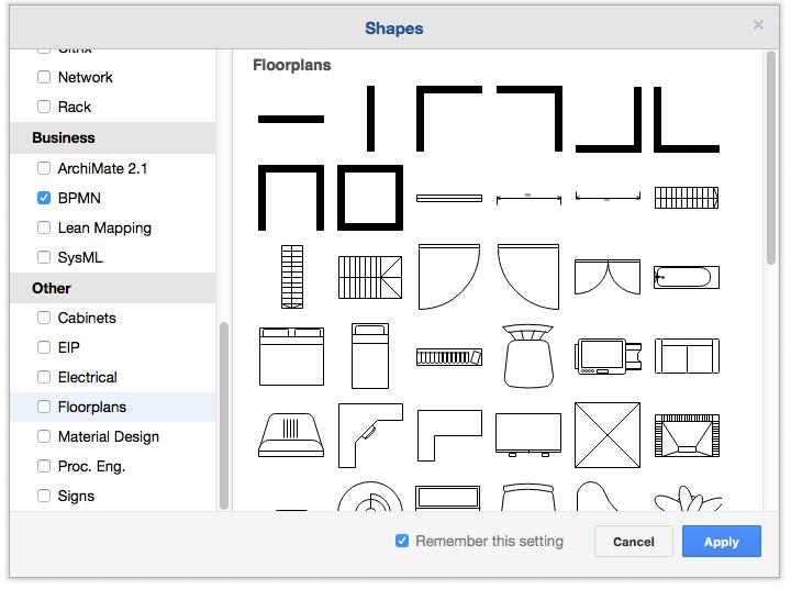 "draw.io中""更多形状""对话框中的平面图库"