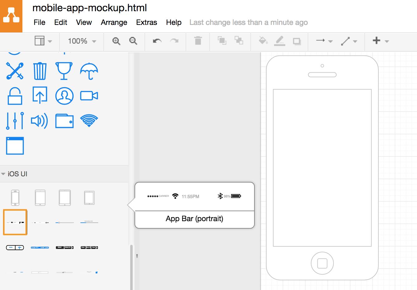 draw.io-将应用程序栏添加到iPhone轮廓