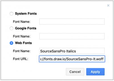 在draw.io中使用自定义Web字体